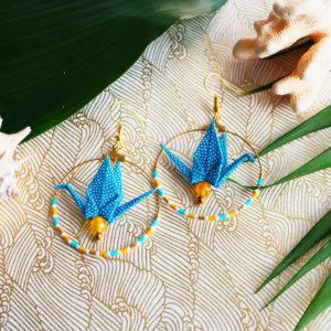 Gebetnout bijoux fantaisie lyon mode tendance bijouterie femme Annecy artisan Opunohu origami grue jaune turquoise jade miyuki