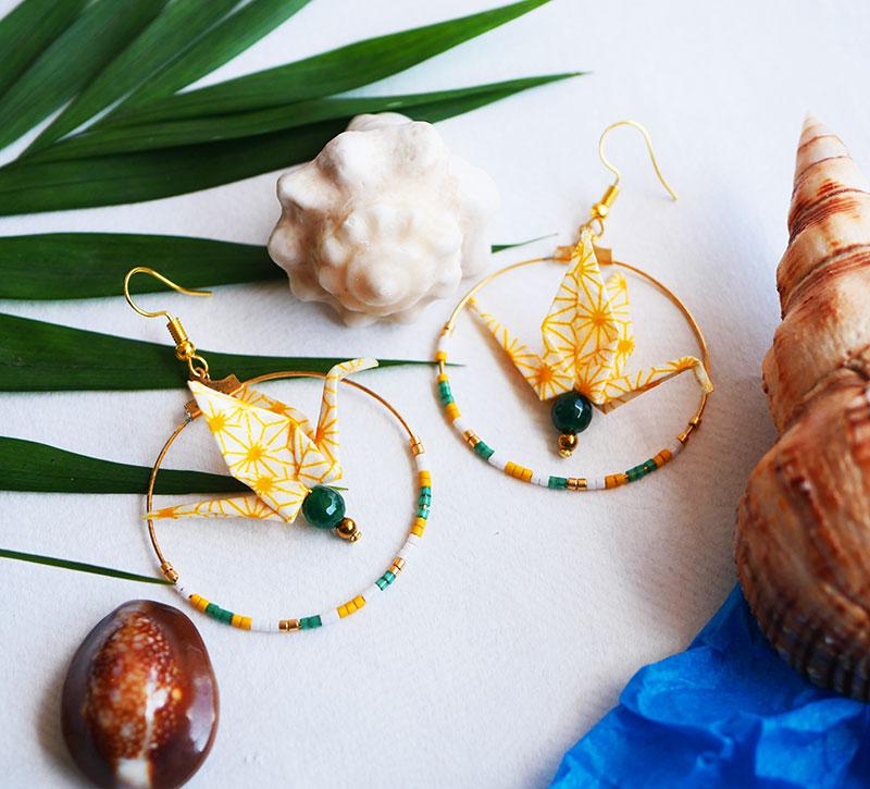 Gebetnout bijoux fantaisie lyon mode tendance bijouterie femme Annecy artisan Opunohu origami grue jaune vert emeraude jade miyuki
