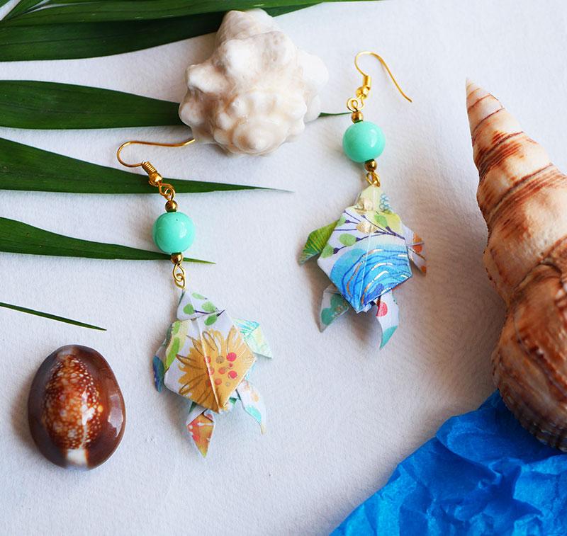 Gebetnout bijoux fantaisie lyon mode tendance bijouterie femme Annecy artisan Opunohu origami tortue fleuri turquoise dore