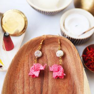 Gebetnout bijoux fantaisie lyon mode tendance bijouterie femme Annecy artisan watthanaram ayutthaya origami elephant agate corail dore