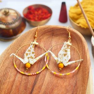 Gebetnout bijoux fantaisie lyon mode tendance bijouterie femme Annecy artisan watthanaram ayutthaya origami grue blanc dore peche rose creole