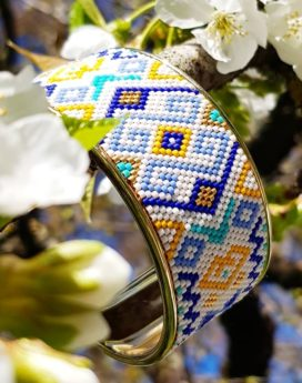 Gebetnout bijoux fantaisie lyon mode tendance bijouterie femme Oullins artisan Miyuki grec manchette bleu