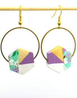 Gebetnout bijoux fantaisie lyon mode tendance bijouterie femme Oullins artisan bois japonais géométrie hexagone violet fleuri vert