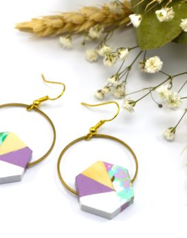 Gebetnout bijoux fantaisie lyon mode tendance bijouterie femme Oullins artisan bois japonais géométrie hexagone violet fleuri vert cercle