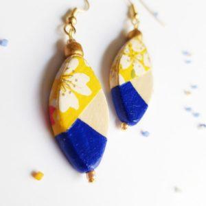 Gebetnout bijoux fantaisie lyon mode tendance bijouterie femme Oullins artisan bois peinture fleuri jaune