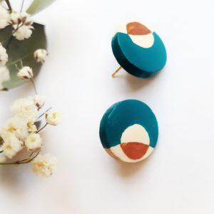 Gebetnout bijoux fantaisie lyon mode tendance bijouterie femme Oullins artisan boucles oreilles puces bois cercle rond bleu canard cuivré