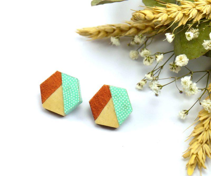 Gebetnout bijoux fantaisie lyon mode tendance bijouterie femme Oullins artisan boucles oreilles puces bois hexagone papier japonais pois