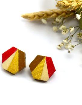 Gebetnout bijoux fantaisie lyon mode tendance bijouterie femme Oullins artisan boucles oreilles puces bois hexagone rouge doré