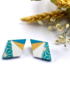 Gebetnout bijoux fantaisie lyon mode tendance bijouterie femme Oullins artisan boucles oreilles puces bois losange papier japonais turquoise graphique