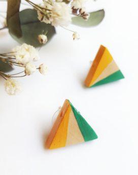 Gebetnout bijoux fantaisie lyon mode tendance bijouterie femme Oullins artisan boucles oreilles puces bois triangle jaune miel vert