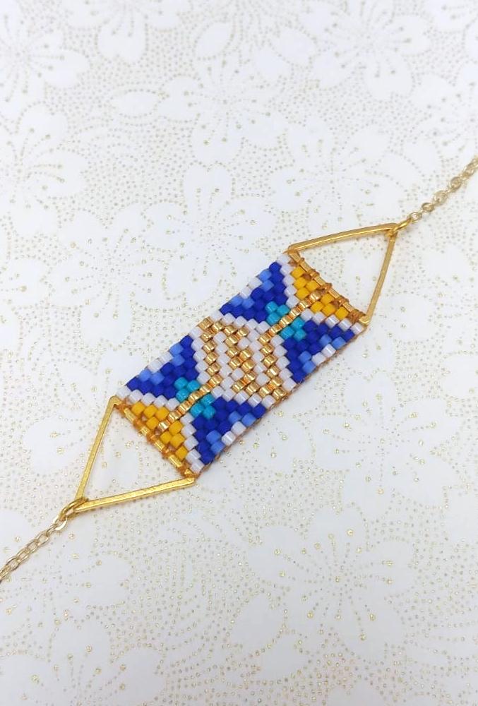 Gebetnout bijoux fantaisie lyon mode tendance bijouterie femme Oullins artisan bracelet miyuki grec triangle bleu doré