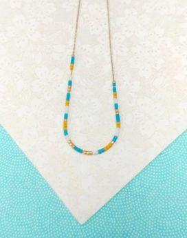 Gebetnout bijoux fantaisie lyon mode tendance bijouterie femme Oullins artisan xollier miyuki turquoise délicat