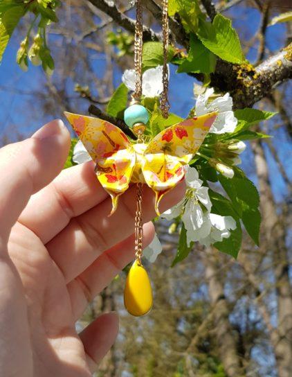 Gebetnout bijoux fantaisie lyon mode tendance bijouterie femme Oullins artisan collier sautoir origami papillon