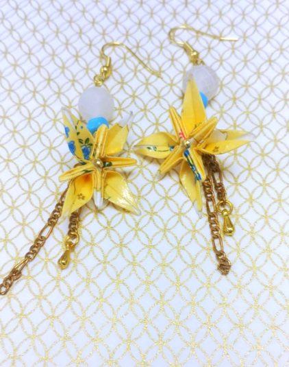 Gebetnout bijoux fantaisie lyon mode tendance bijouterie femme Oullins artisan origami fleur oranger japonais jaune