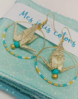 Gebetnout bijoux fantaisie lyon mode tendance bijouterie femme Oullins artisan origami fleur oranger jaune