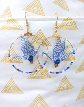 Gebetnout bijoux fantaisie lyon mode tendance bijouterie femme Oullins artisan origami grue bleu graphique créole