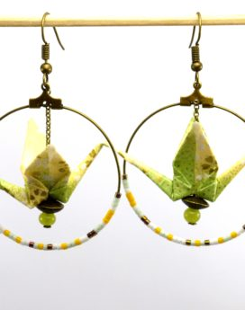 Gebetnout bijoux fantaisie lyon mode tendance bijouterie femme Oullins artisan origami grue vert jaune bronze