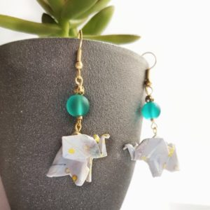 Gebetnout bijoux fantaisie lyon mode tendance bijouterie femme Oullins artisan origami turquoise éléphant japonais