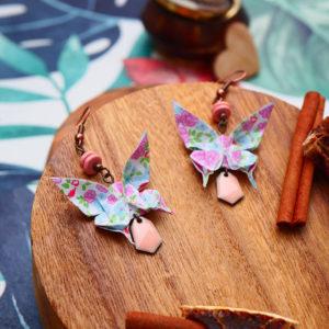 Gebetnout bijoux fantaisie lyon mode tendance bijouterie femme Annecy artisan origami papillon rose vert bleu blanc cuivre