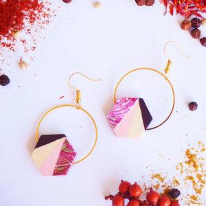 Gebetnout bijoux fantaisie lyon mode tendance bijouterie femme Annecy artisan Licancabur bois hexagone rose violet