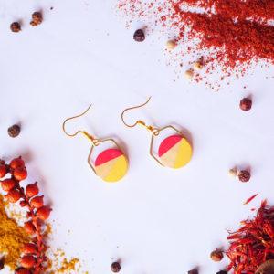 Gebetnout bijoux fantaisie lyon mode tendance bijouterie femme Annecy artisan Licancabur bois rond hexagone orange jaune