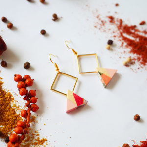 Gebetnout bijoux fantaisie lyon mode tendance bijouterie femme Annecy artisan Licancabur bois rond hexagone rose rouge