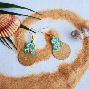 Gebetnout bijoux fantaisie lyon mode tendance bijouterie femme Annecy artisan Opunohu geometrie rond vert turquoise tissage miyuki