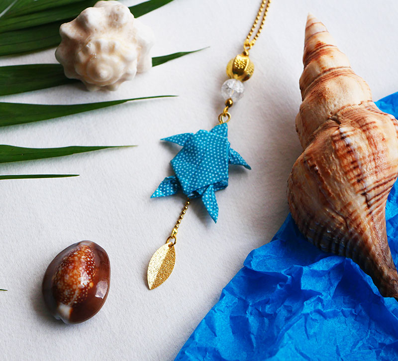 Gebetnout bijoux fantaisie lyon mode tendance bijouterie femme Annecy artisan Opunohu origami tortue collier turquoise dore