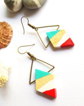Gebetnout bijoux fantaisie lyon mode tendance bijouterie femme Oullins artisan bois losange endeavour corail