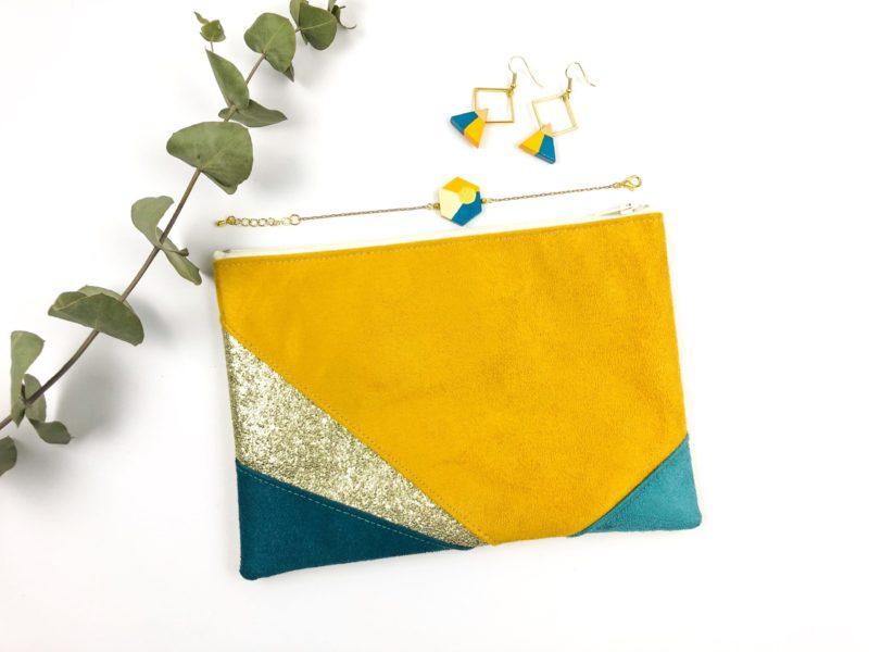 Gebetnout bijoux fantaisie lyon mode tendance bijouterie femme Oullins artisan collaboration thealouise pochette moutarde