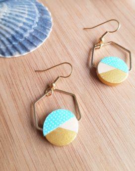 Gebetnout bijoux fantaisie lyon mode tendance bijouterie femme Oullins artisan endeavour bois hexagone papier japonais