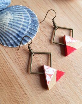Gebetnout bijoux fantaisie lyon mode tendance bijouterie femme Oullins artisan endeavour bois triangle corail