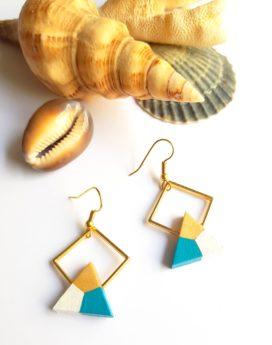 Gebetnout bijoux fantaisie lyon mode tendance bijouterie femme Oullins artisan endeavour bois triangle losange bleu