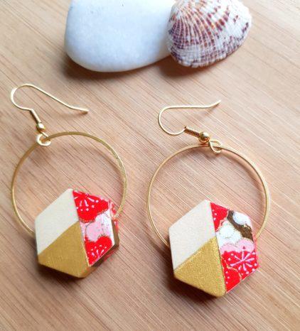 Gebetnout bijoux fantaisie lyon mode tendance bijouterie femme Oullins artisan endeavour hexagone papier japonais corail