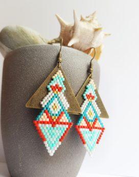 Gebetnout bijoux fantaisie lyon mode tendance bijouterie femme Oullins artisan endeavour triangle bronze corail turquoise