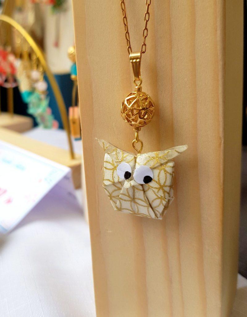 Gebetnout bijoux fantaisie lyon mode tendance bijouterie femme Oullins artisan endeavour collier origami hibou