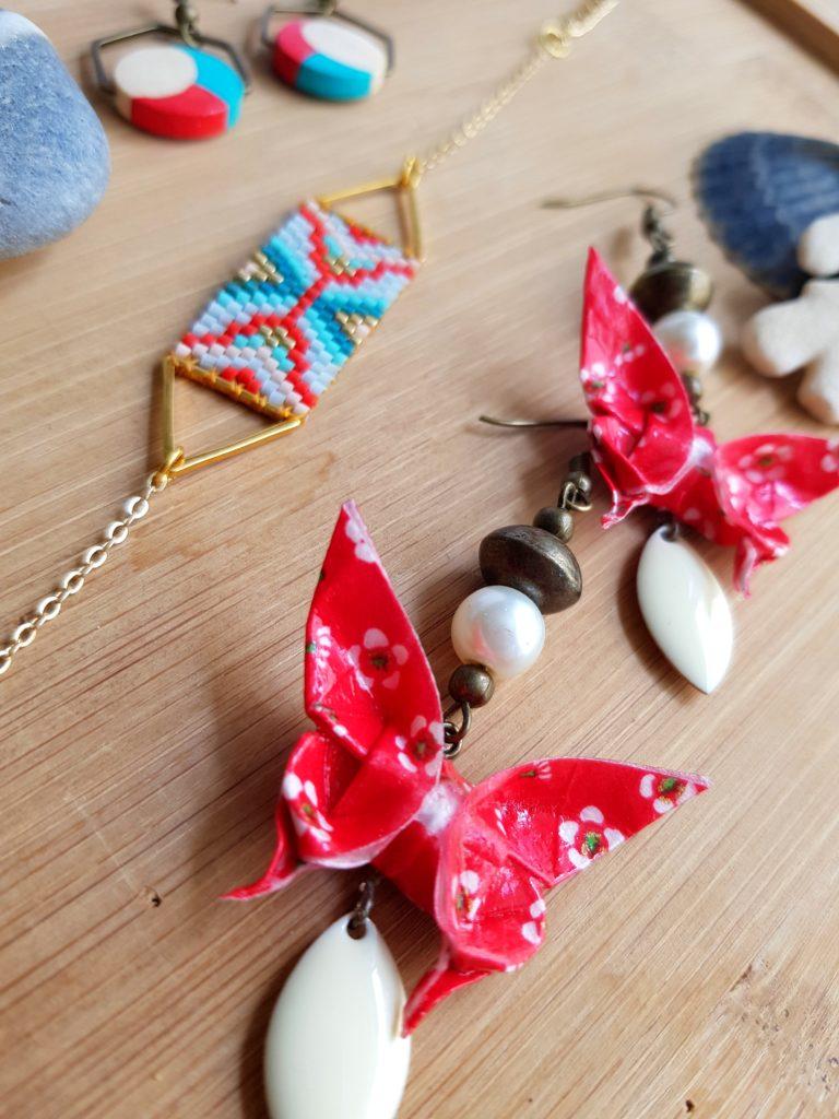 Gebetnout bijoux fantaisie lyon mode tendance bijouterie femme Oullins artisan endeavour origami papillon