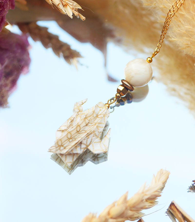 Gebetnout bijoux fantaisie lyon mode tendance bijouterie femme Annecy artisan origami sautoir cactus dore or ivoire