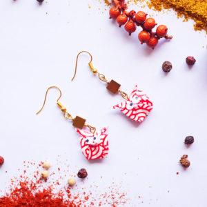 Gebetnout bijoux fantaisie lyon mode tendance bijouterie femme Annecy artisan Licancabur origami hibou rouge blanc dore