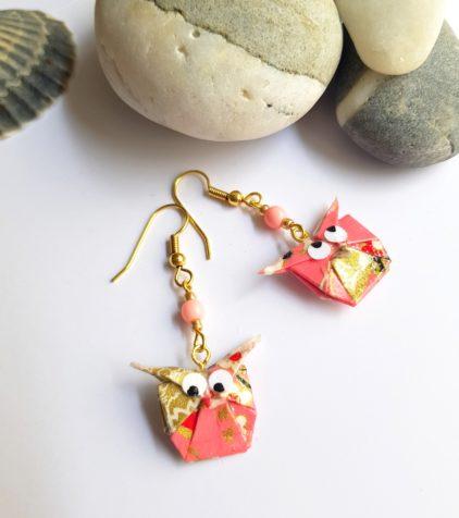 Gebetnout bijoux fantaisie lyon mode tendance bijouterie femme Oullins artisan endeavour origami hibou saumon