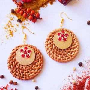 Gebetnout bijoux fantaisie lyon mode tendance bijouterie femme Annecy artisan Licancabur miyuki rose dore rouge rotin