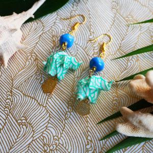 Gebetnout bijoux fantaisie lyon mode tendance bijouterie femme Annecy artisan Opunohu origami elephant bleu turquoise dore