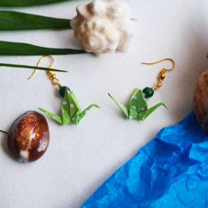 Gebetnout bijoux fantaisie lyon mode tendance bijouterie femme Annecy artisan Opunohu origami grue vert pois blanc jade