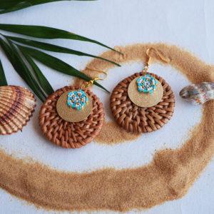Gebetnout bijoux fantaisie lyon mode tendance bijouterie femme Annecy artisan Opunohu rotin dore turquoise osier miyuki
