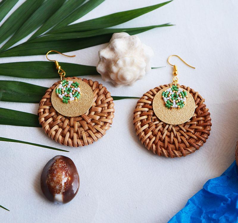 Gebetnout bijoux fantaisie lyon mode tendance bijouterie femme Annecy artisan Opunohu rotin dore vert osier miyuki