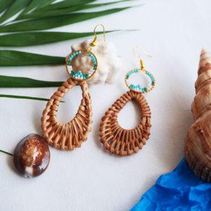 Gebetnout bijoux fantaisie lyon mode tendance bijouterie femme Annecy artisan Opunohu rotin goutte bleu dore turquoise osier miyuki