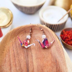 Gebetnout bijoux fantaisie lyon mode tendance bijouterie femme Annecy artisan watthanaram ayutthaya origami grue quartz corail jaune cuivre