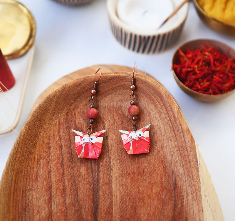 Gebetnout bijoux fantaisie lyon mode tendance bijouterie femme Annecy artisan watthanaram ayutthaya origami hibou agate corail saumon cuivre