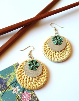 Gebetnout bijoux fantaisie lyon mode tendance bijouterie femme Oullins artisan boucles oreilles miyuki rotin argenté turquoise