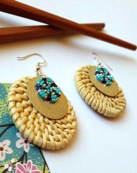 Gebetnout bijoux fantaisie lyon mode tendance bijouterie femme Oullins artisan boucles oreilles miyuki rotin bleu marine argenté